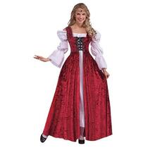 Traje Medieval - Ladies Red Lace Up Vestido Del Vestido De L