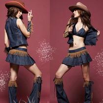 Disfraz Dama Vaquera Vestido Sexy Fiesta Halloween Cowboy Ed