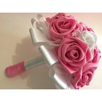 Ramo Bouquet Artificial Novia Xv Años Rosas Tela A Mano