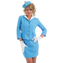 Air Hostess Traje - Azul Tripulación Med: Señoras Pan