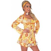 Hippy Traje - Yellow Hippie Vestido Grande: Señoras Retro 6