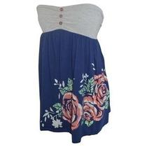 Vestido Americano Strapless Azul Gris Playa Fiesta Informal