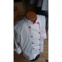 Filipina Dama Blanca Con Bies Rosa Chef