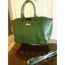 Bolsa Gucci Piel En Verde Botella Doble Asa