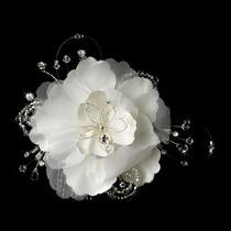 Peineta De Novia Floral Swarovsky Y Piedras Tipo Diamante