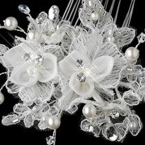 Peineta De Novia Encaje Swarovsky , Tipo Diamantes Y Perlas