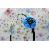 Diadema Flor Azul Y Negro Dia06