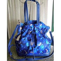 Bolsa Louis Vuitton Flowers Monograms Doble Aza Azul Piel