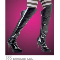 Traje Pirata - Long Negro Pvc Boot Covers Vestido De Lujo