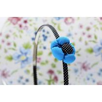 Diadema Flor Azul Y Negro Dia11