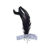 Flapper Costume - Plata Diadema Con Negro Pluma Retro
