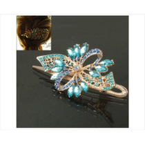Clip De Flores En Forma De Mariposa Con Diamantes De Imitaci