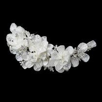 Hermoso Tocado Novia Floral Con Encaje, Perlas Y Cristales