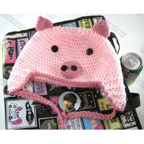 Gorras Cerdito Tejidas Estambre Crochet Para Adulto Y Bebé