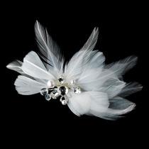 Hermoso Clip De Novia Plumas Cristales Tipo Diamante Yperlas