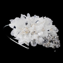 Diadema Novia Floral Bordada Cristal Tipo Diamante Y Perlas