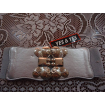Cinturon Ajustable Gris C Hebilla D Mariposa Dorada P/dama