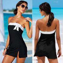 Monokini Vestido Traje De Baño Negro Dama Talla Mediana Sexy