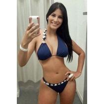 Bikini Azul Marino Gemas Plata Talla Chica 32 Traje De Baño