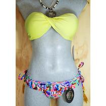 Bikini Strapless Amarillo Y Tanga Estampada De Corte Regular