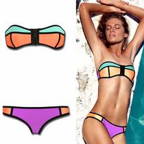Bikini Neopreno Colores Strapless Talla Chica Playa Corset