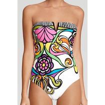 Bikini Monokini Traje De Baño Strapless Flores Moda Japonesa