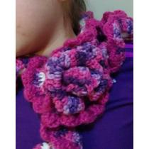 Bufanda Con Flor Tejida Crochet