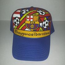 Gorra Barcelona, Personalizadas Pintadas A Mano Fut