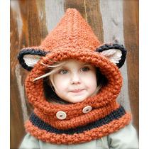 Gorro Tejido Estilo Zorro Crochet Mujer Bebe Niños Adulto
