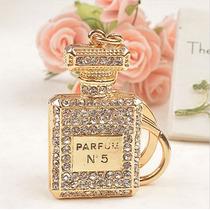 Llavero En Forma De Perfume Cristales Baño Oro Regalo