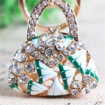 Llavero Bolsa Mosaico Vde Chapa De Oro Cristales Austriacos