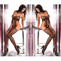 Moda Sexy Body De Red Negro Con Ligueros Medias Bodystocking