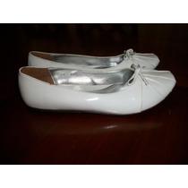 Lindos Zapatos De Piso Blancos Nuevos 4 Mex. Niña O Dama