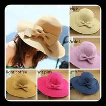 Lote 5 Hermosos Sombreros Playa Elegante Mujer 5 Colores