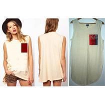 Vestido Bluson Camiseta Larga Hueso Mediana Nueva + Envio
