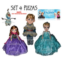 Muñeca Frozen Set 4 Piezas Elsa Ana Kristoff Olaf 40 Cm