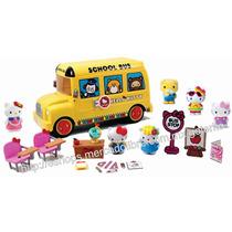 Hello Kitty Set Autobus Escolar Mas De 30 Pzs !! Precioso !!