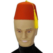 Red Fez Sombrero De Fieltro Rojo / Oro