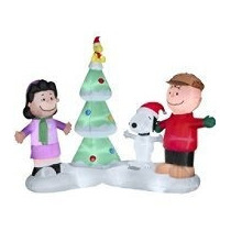 Snoopy Lucy Adorno Navideño Inflable Musica Luz Pm0