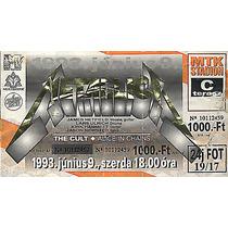 Metallica Boleto De Coleccion Budapest 1993 Hungria Hm4