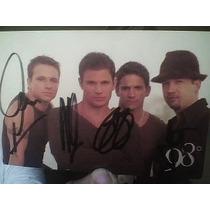 Postal Autografiada Por El Grupo 98 Grados