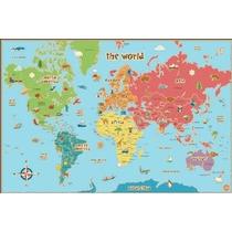 Pops Wall Wpe0624 Niños Borrado En Seco Mundial Mapa Tatuaje