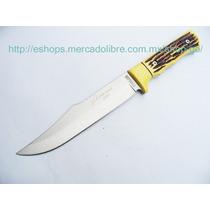 Cuchillo De Monte Acero M2454 Mango Imitacion Cuerno Venado