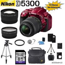 Nikon D5300 Roja + 18-55mm + 2 Lentes + 11 Accesorios Meses