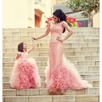 Hermoso Vestido De Niña Aplicacione Encaje Tul Alta Costura