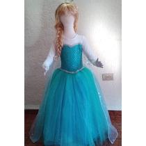 Hermoso Vestido Largo Elsa Frozen Con Manga Larga
