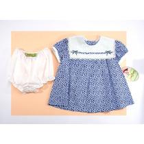 Vestido Niña, Manga Corta, Flores Azules Jessy Franz