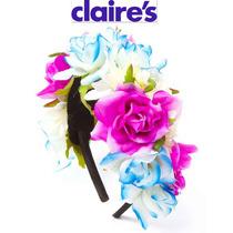 Diadema Flores Nina Azul Morada Claires Satinada Tiara Bella