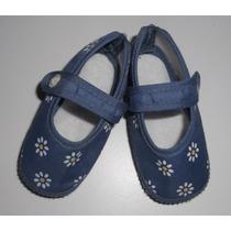 Preciosos Zapatitos Beba Azul Con Flores Tipo Mexicanos 10cm