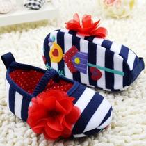 Zapatos Para Niña Bebé, Primeros Pasos (marino/flor) 12cm.